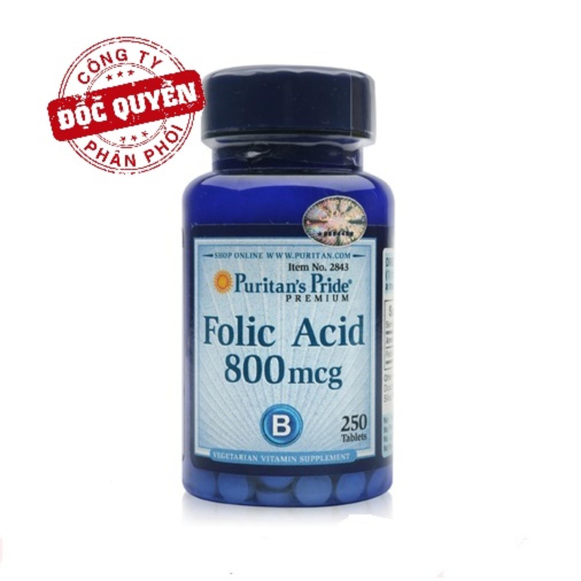 Viên uống ngăn ngừa thiếu máu Puritans Pride Folic Acid 800mcg 250 viên HSD tháng 11/2020 nhập khẩu