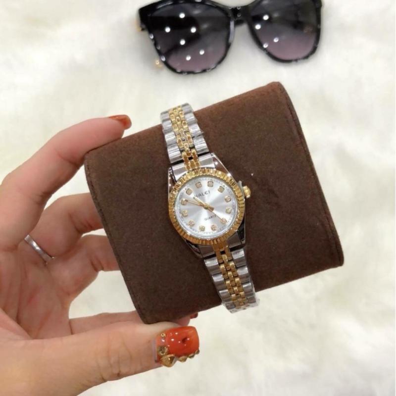 Đồng hồ nữ mạ vàng cao cấp Halei dây demi mặt trắng viền băm