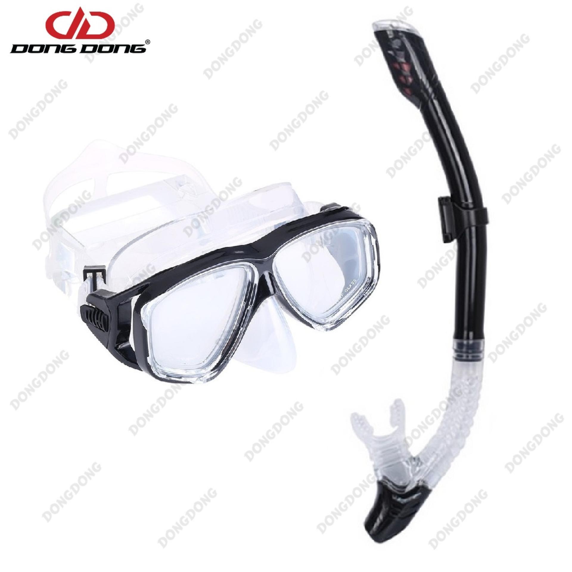 Bộ kính lặn Ống thở S301 - BLACK, mắt KÍNH CƯỜNG LỰC, ống thở van 1 chiều ngăn nước cao cấp - DONGDONG