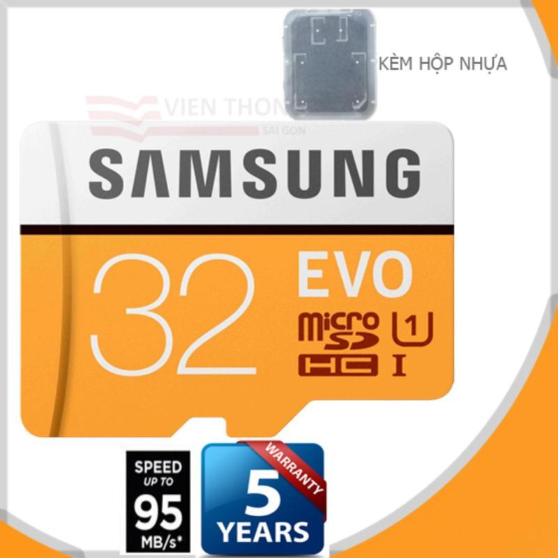 Thẻ nhớ 32gb Samsung EVO up to 95MB/s Micro SDHC Tốc độ cao  (Cam) - Bảo hành 1 đổi 1 + hộp nhựa  + Tặng đèn Led USB
