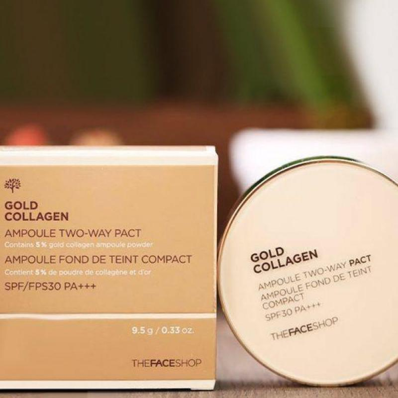 Phấn trang diem đẹp da Gold Collagen 3in1 của The Face Shop - Hàn Quốc nhập khẩu