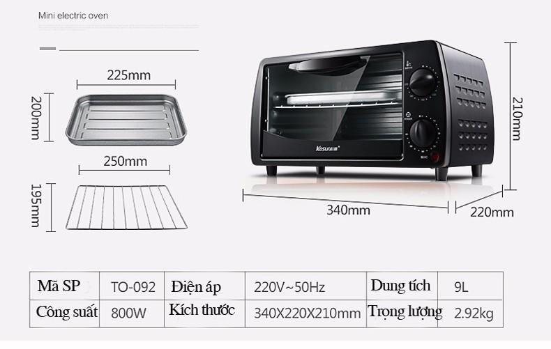 Lò nướng Mini Kensun - Thông số kỹ thuật