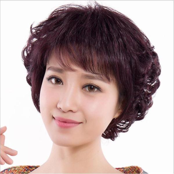 [TẶNG KÈM LƯỚI] Tóc giả nữ trung niên nguyên đầu sợi tơ Hàn Quốc - TG48 ( NÂU TỐI ) cao cấp