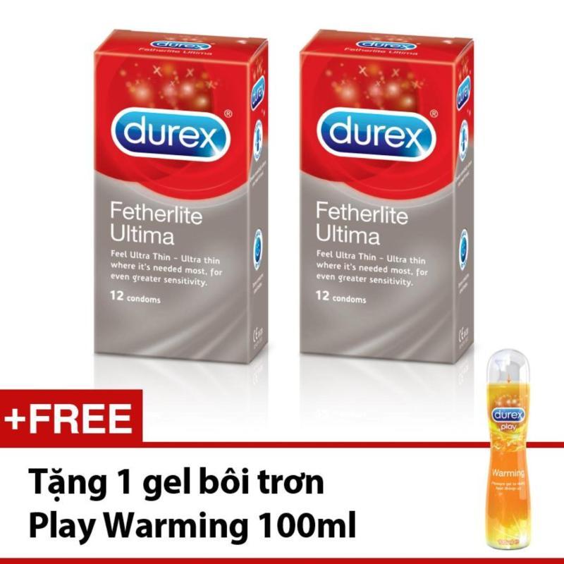 Bộ 2 hộp Bao cao su Durex Fetherlite Ultima 12 bao + Tặng gel bôi trơn Durex Play Warming 100ml