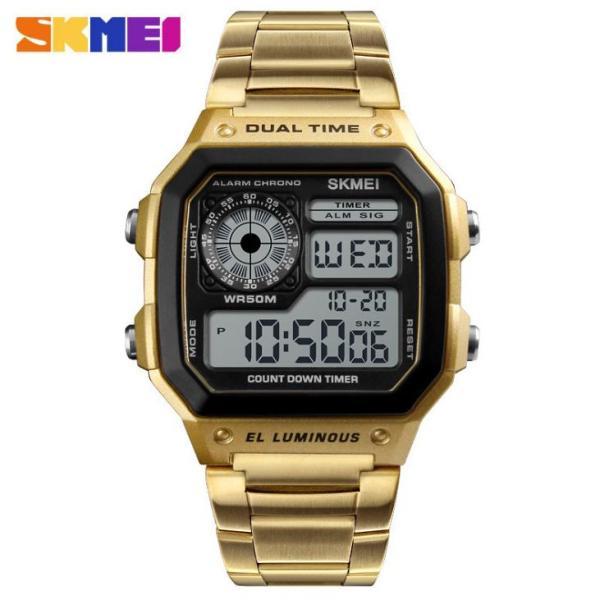 Đồng hồ thể thao điện tử nam Skmei 1335 Digital Watch dây thép không gỉ (Vàng)