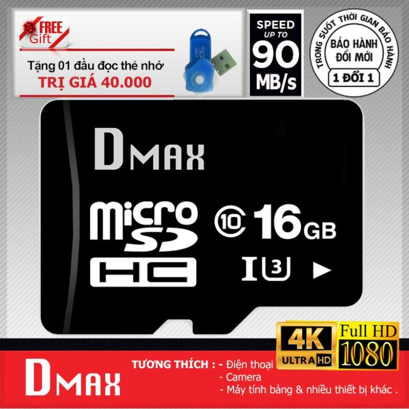 Thẻ nhớ 16GB Tốc độ cao UHS1 U3 up to 90mb/s Dmax Micro SDHC +Tặng đầu đọc thẻ micro PT