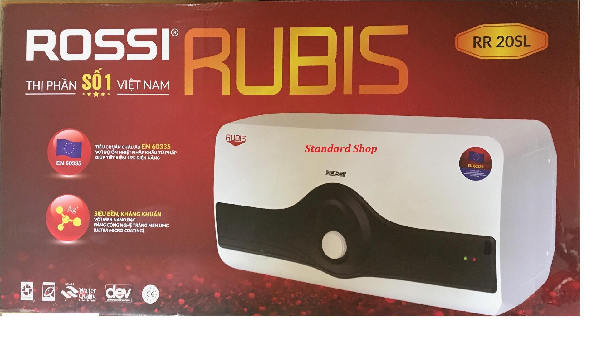 Bình nước nóng chống giật Rossi Rubis 20L ngang RR20SL