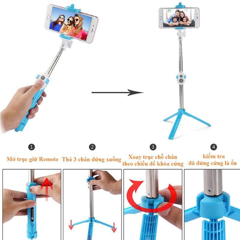 Gậy Tripod Selfie Stick Mini Có Đế 3 Chân Tặng Kèm Nút Điều Khiển Từ Xa Bluetooth - Xanh Dương