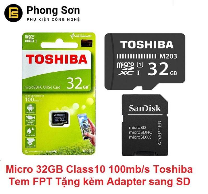 Thẻ nhớ Micro SDHC 32GB Class10 100mb/s Toshiba (Tặng kèm adapter to SD) Tem FPT