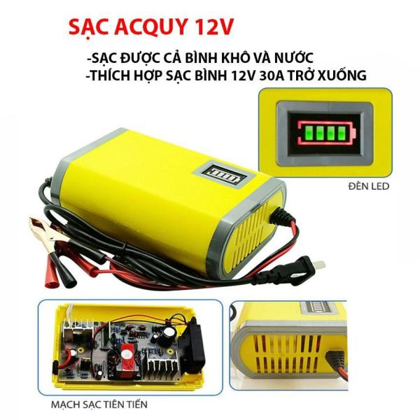 Sạc bình ắc quy 12V cho xe máy tự ngắt khi đầy sạc được cả bình không bình nước (12V/2A)
