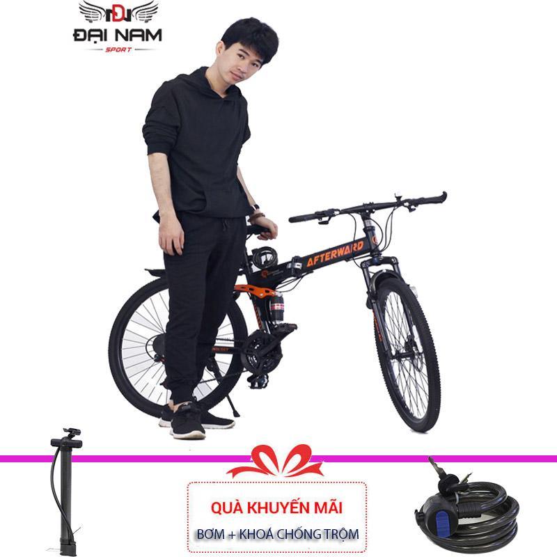 Xe đạp thể thao địa hình gấp gọn After Ward (Đen) + Tặng bơm vs khoá chống trộm