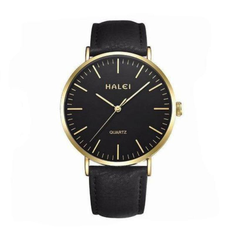 Đồng hồ nam Halei dây da mềm chống nước tuyệt đối