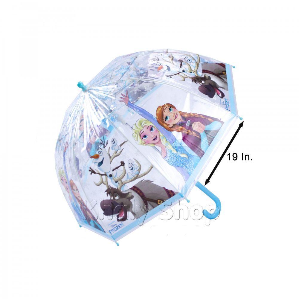 Hình ảnh Ô Dù tròn bầu trong suốt Thái Lan 19'' hình công chúa Elsa và Anna Frozen viền xanh dành cho các bé và học sinh - 190FZ198P162