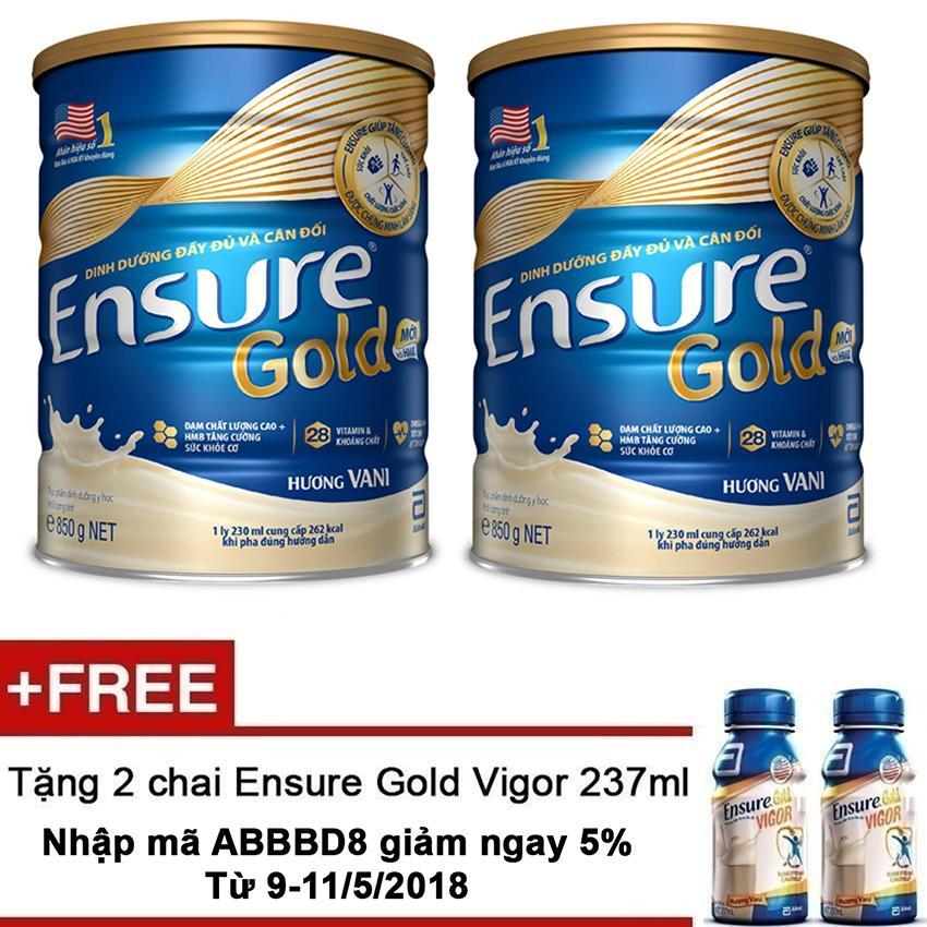 Ôn Tập Tốt Nhất Bộ 2 Lon Sữa Bột Ensure Gold Hương Vani 850G Tặng 2 Ensure Vigor Gold 237Ml