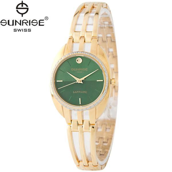Đồng hồ nữ dây kim loại mặt kính sapphire chống xước Sunrise SL9938DLK Xanh Lục
