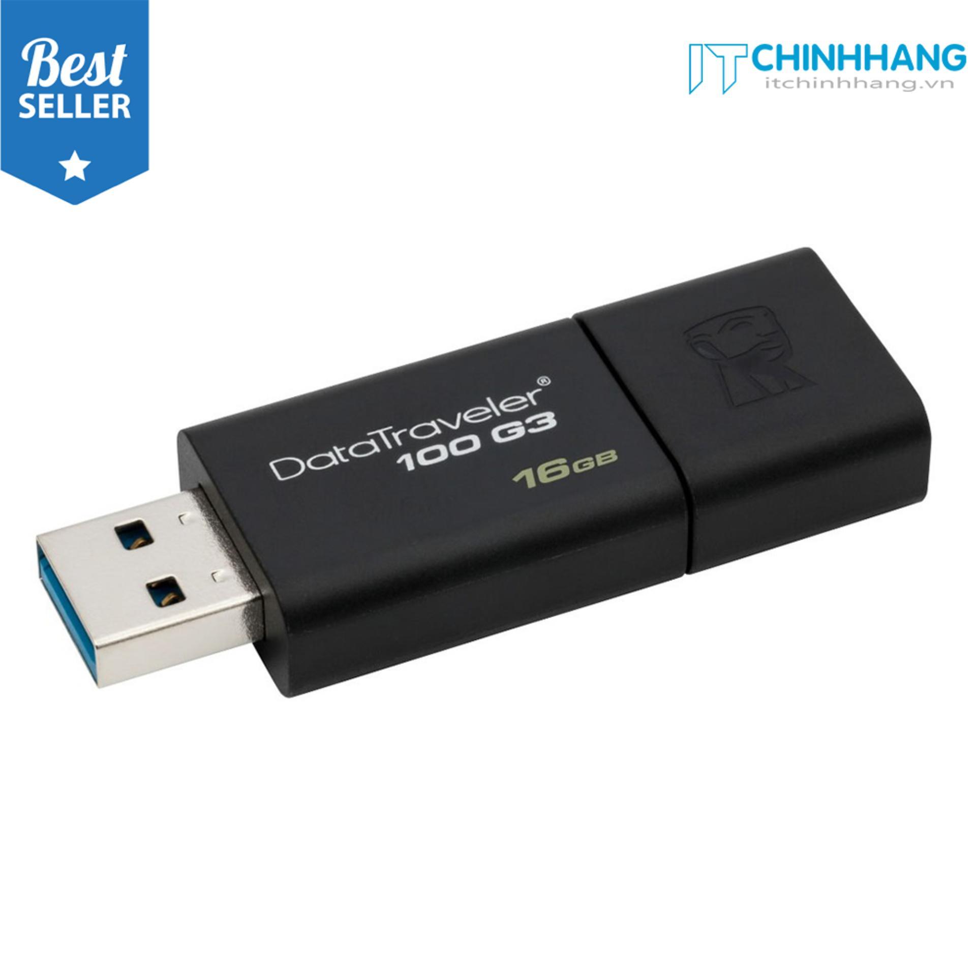 Hình ảnh USB 3.0 Kingston Data Traveler DT100G3 100MB/s 16GB (Đen) - HÃNG PHÂN PHỐI CHÍNH THỨC