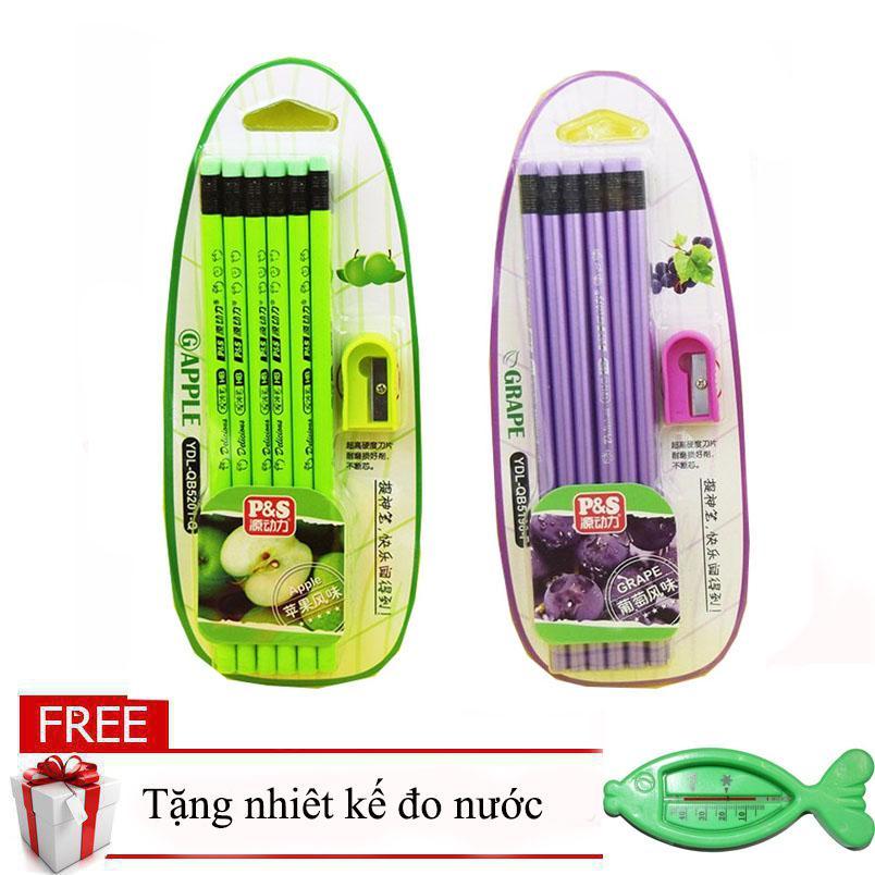 Hình ảnh Set 2 hộp 12 bút chì hương hoa quả giá rẻ (Mùi ngẫu nhiên) tặng kèm nhiệt kế đo nước hình cá