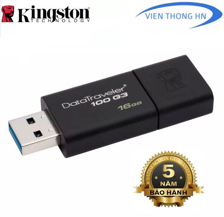 USB 3.0 16GB Kingston DT 100 G3 NEW 2019 - CAM KẾT BH 5 NĂM 1 ĐỔI 1