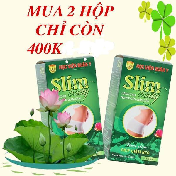 BỘ 2 HỘP Slim body Học Viện Quân Y giảm cân, giữ vóc dáng (100 viên)