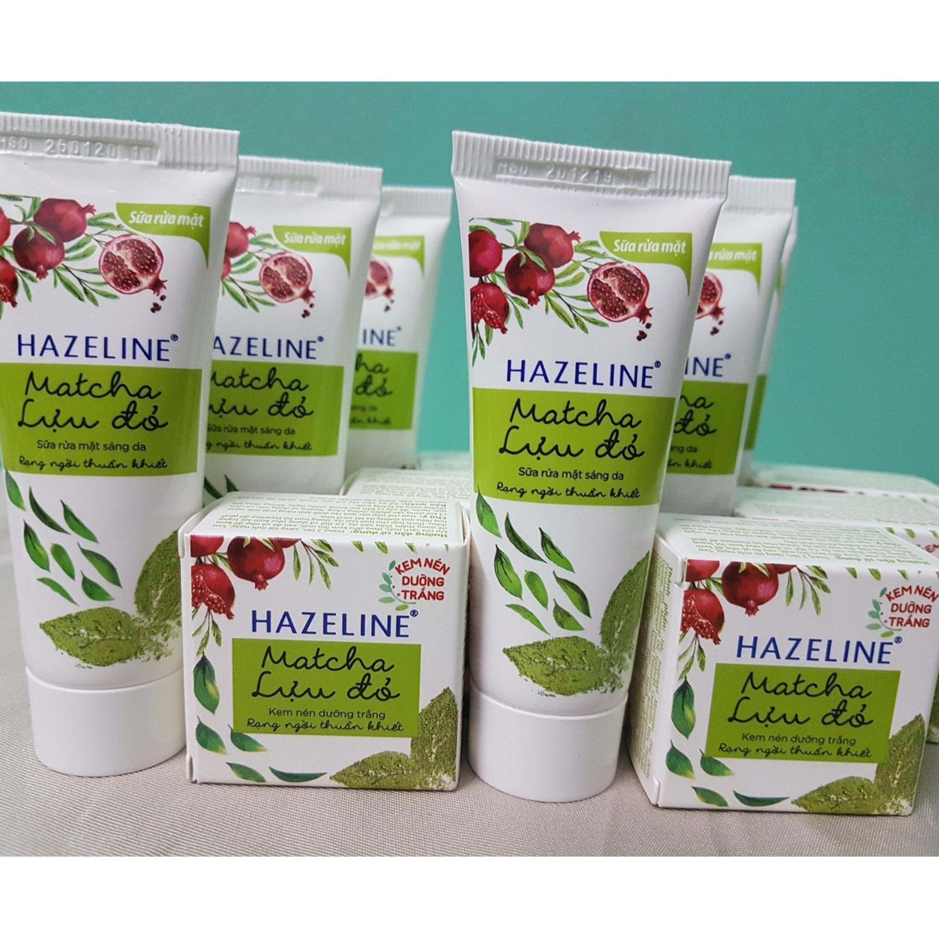 (NHH) Trọn bộ 10 món: 5 hộp kem nén dưỡng trắng Hazeline (3g/hộp), 5 tuýp sữa rửa mặt sáng da Hazeline (15g/ tuýp) + Tặng túi đựng mỹ phẩm xinh xắn