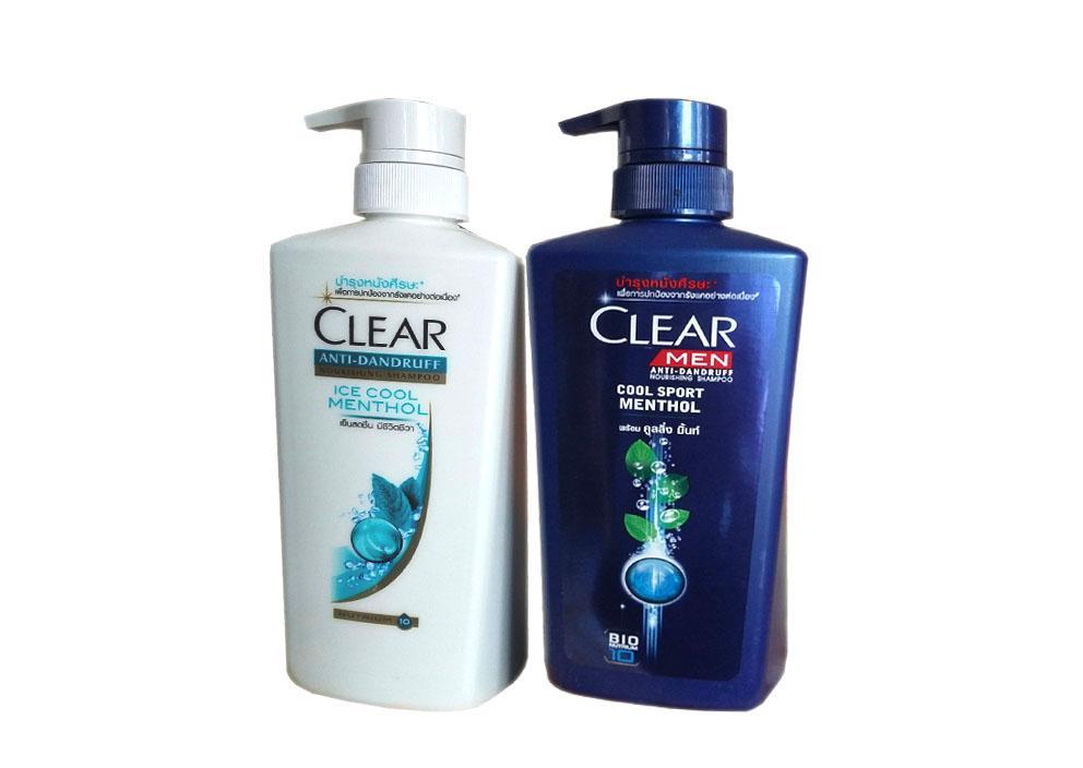 Bộ 2 Chai Dầu Gội Clear Bạc Hà & Clear Men 480 ml Thái Lan