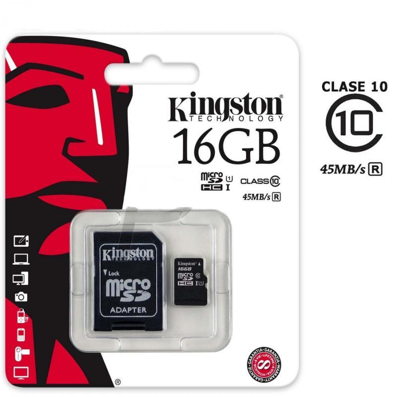 Thẻ Nhớ Micro SDHC KINGSTON 16gb Class 10 Bảo Hành 5 Năm