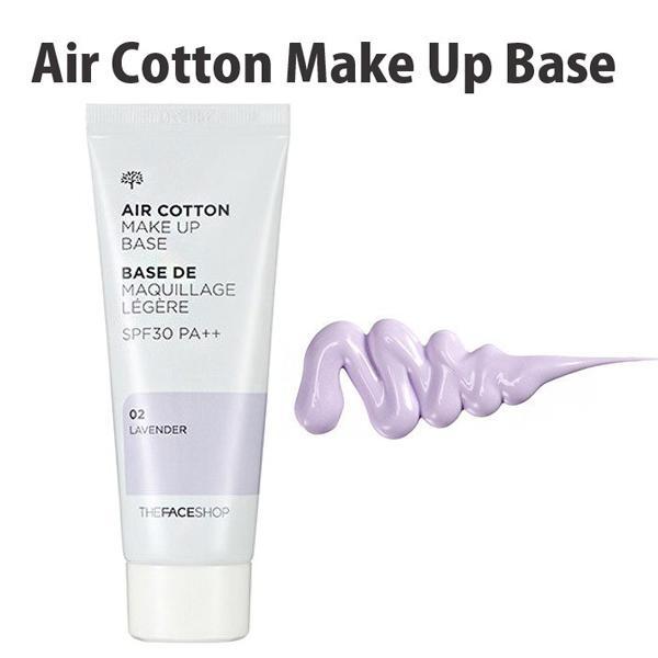 Hình ảnh Kem Lót Kiềm Dầu Và Hiệu Chỉnh Tone Da The Face Shop Air Cotton Make Up Base SPF30 PA++ 40g #02 Lavender