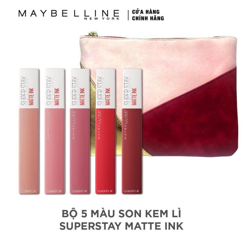 Bộ 5 màu son kem lì Super Stay Matte Ink Maybelline New York lâu trôi 16h nhập khẩu