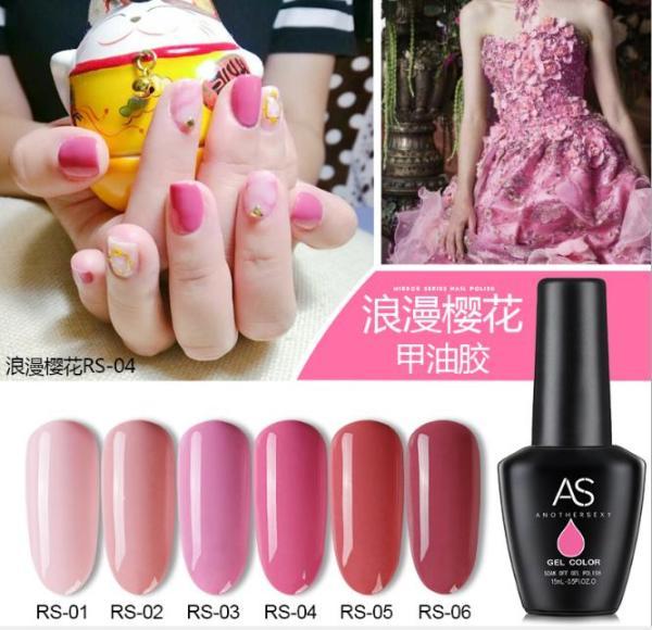 Set sơn móng gel AS sakura romantic 6 màu chai 15ml