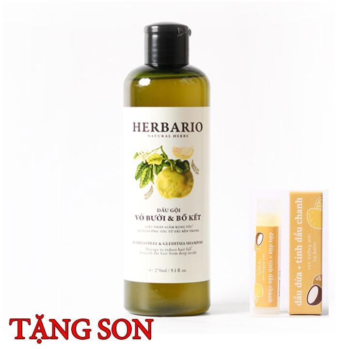 Dầu gội tinh dầu Bưởi và Bồ kết Herbario trị rụng tóc tặng 1 cây son nhập khẩu