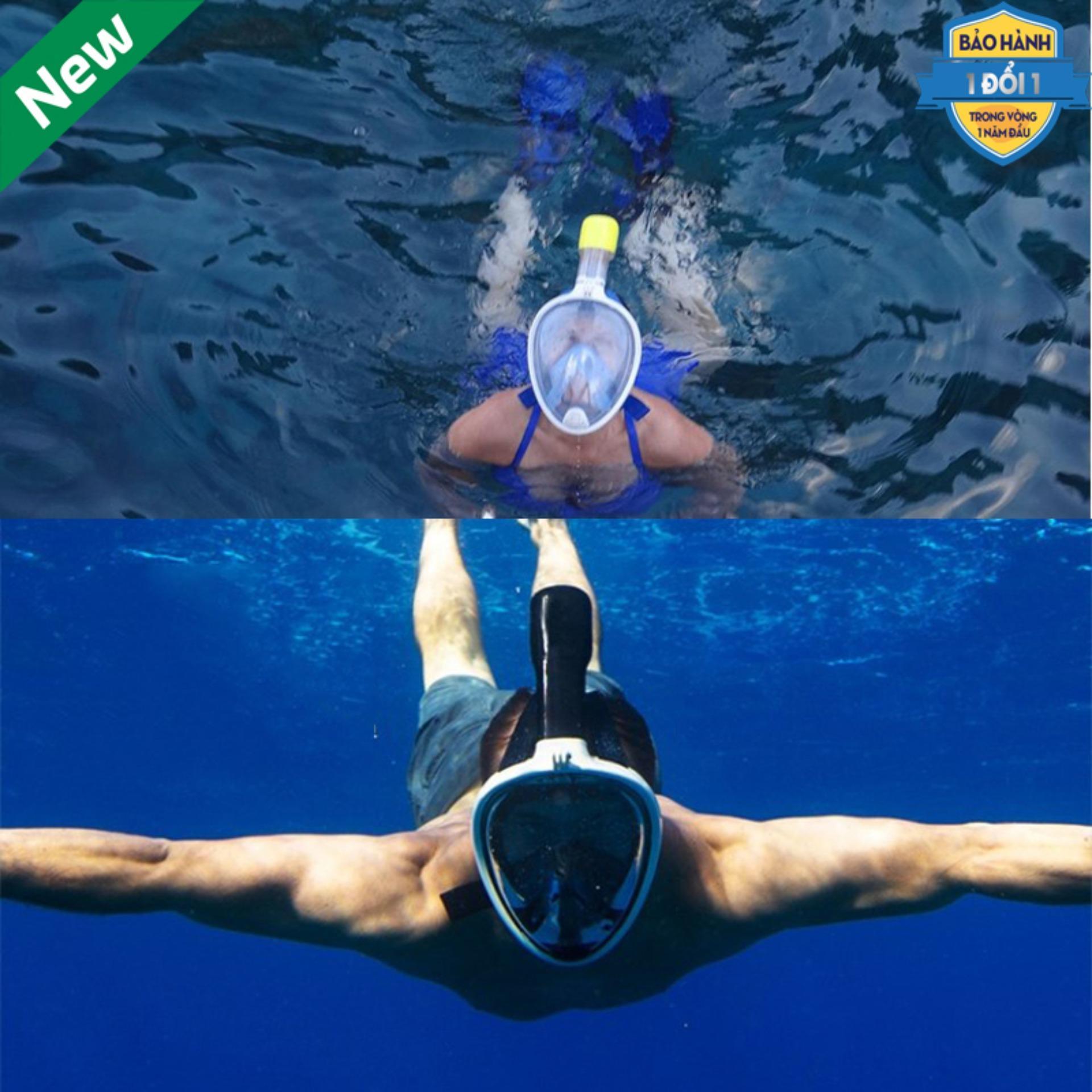 Shop Bán Đồ Bơi Nữ Tphcm_Mặt Lạ Lặn Biển Cao Cấp Sang Trọng Mặt Kính Cường Lực,Gắn Được Gopro,Sjcam Tầm Nhìn 180 Độ,Ống Thở Liền Kính.Bh 12T 1 Đổi 1.Giảm50% Seri 332