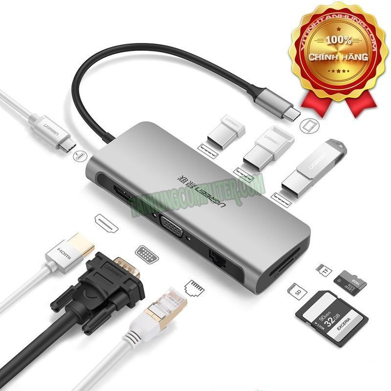 Bảng giá Bộ chuyển USB C to HDMI + VGA + USB 3.0 + LAN 1Gbps + Card Reader đa năng Ugreen 40873 Phong Vũ