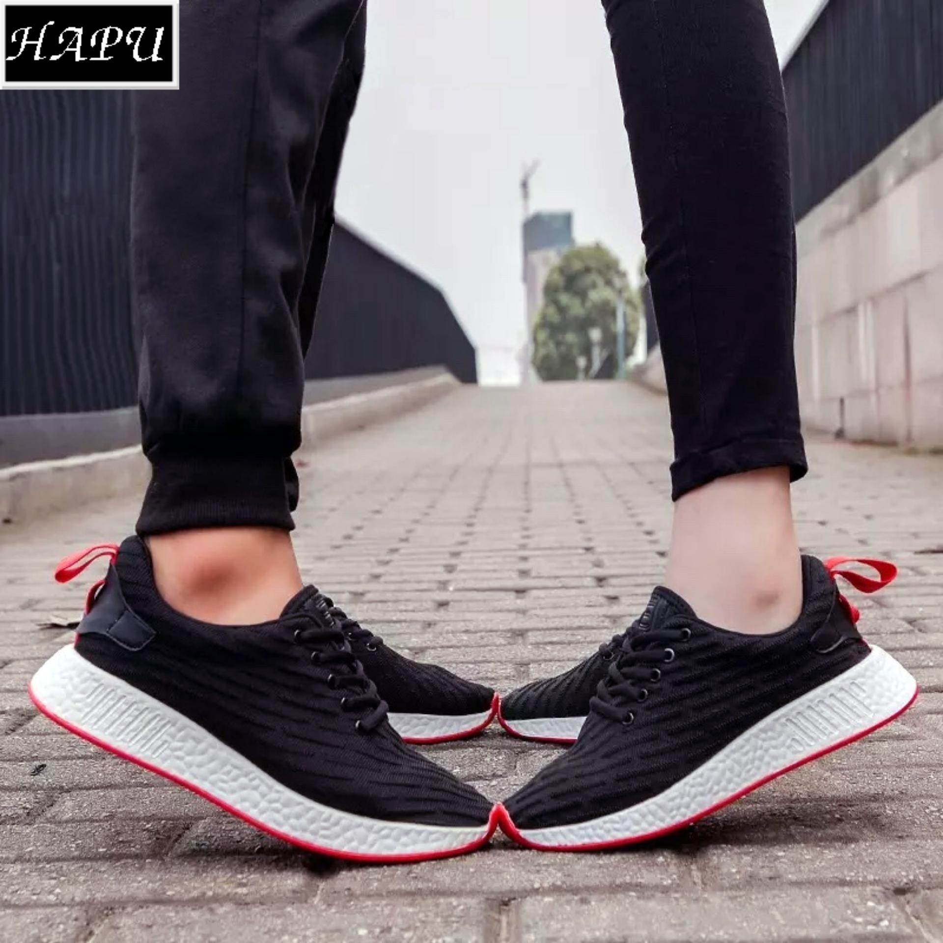 Giá Bán Giay Sneaker Cặp Đoi Thời Trang Nam Nữ Newnmd1 Hapu Đen Vạch Đỏ Hapu
