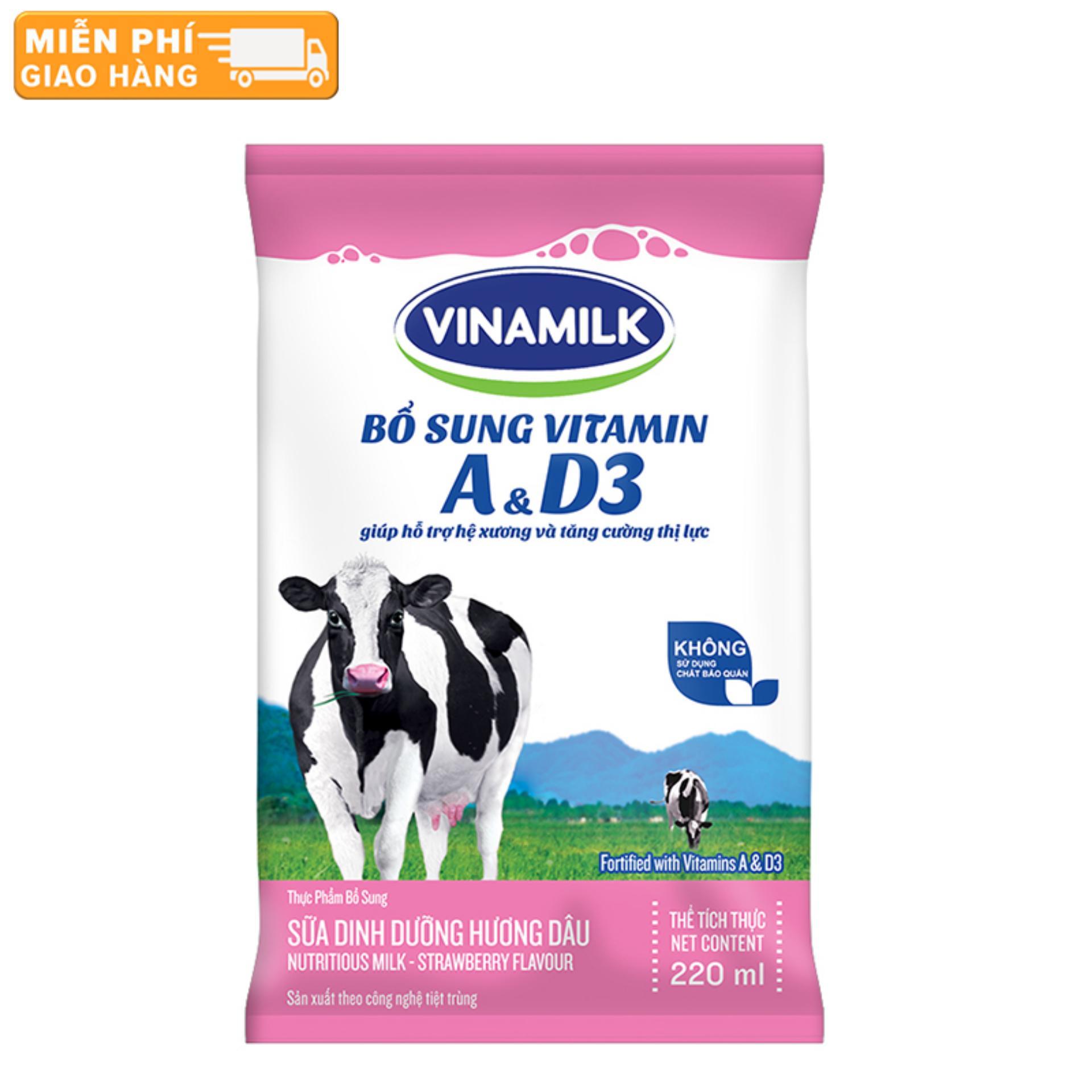 Thùng 48 Bịch Sữa tiệt trùng Vinamilk hương dâu 220ml
