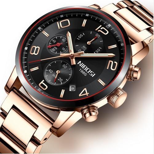 Đồng hồ nam dây thép đặc cao cấp Nibosi 2328 (fullbox)
