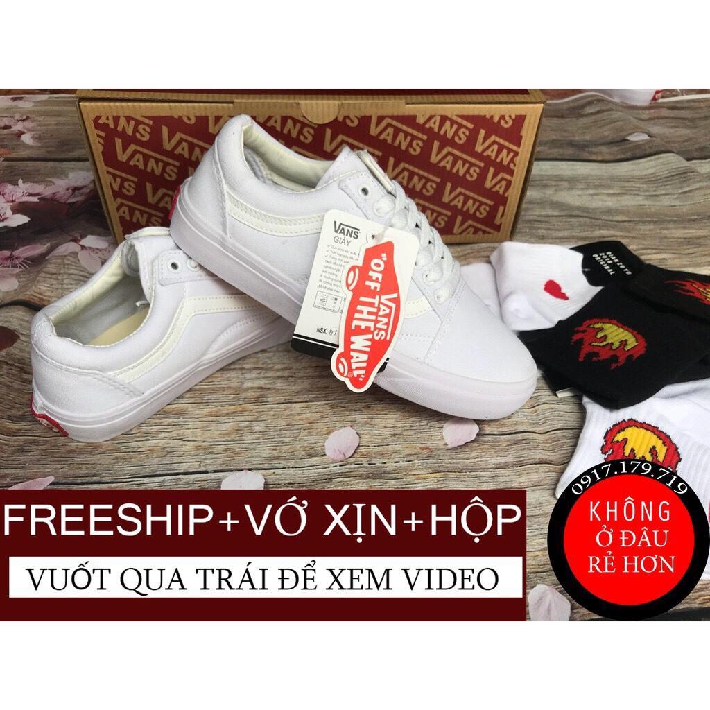 Hình ảnh [FREESHIP+VỚ+HỘP] Giay Vans Old Skool Full White Nam Nữ Hàng ĐẸP