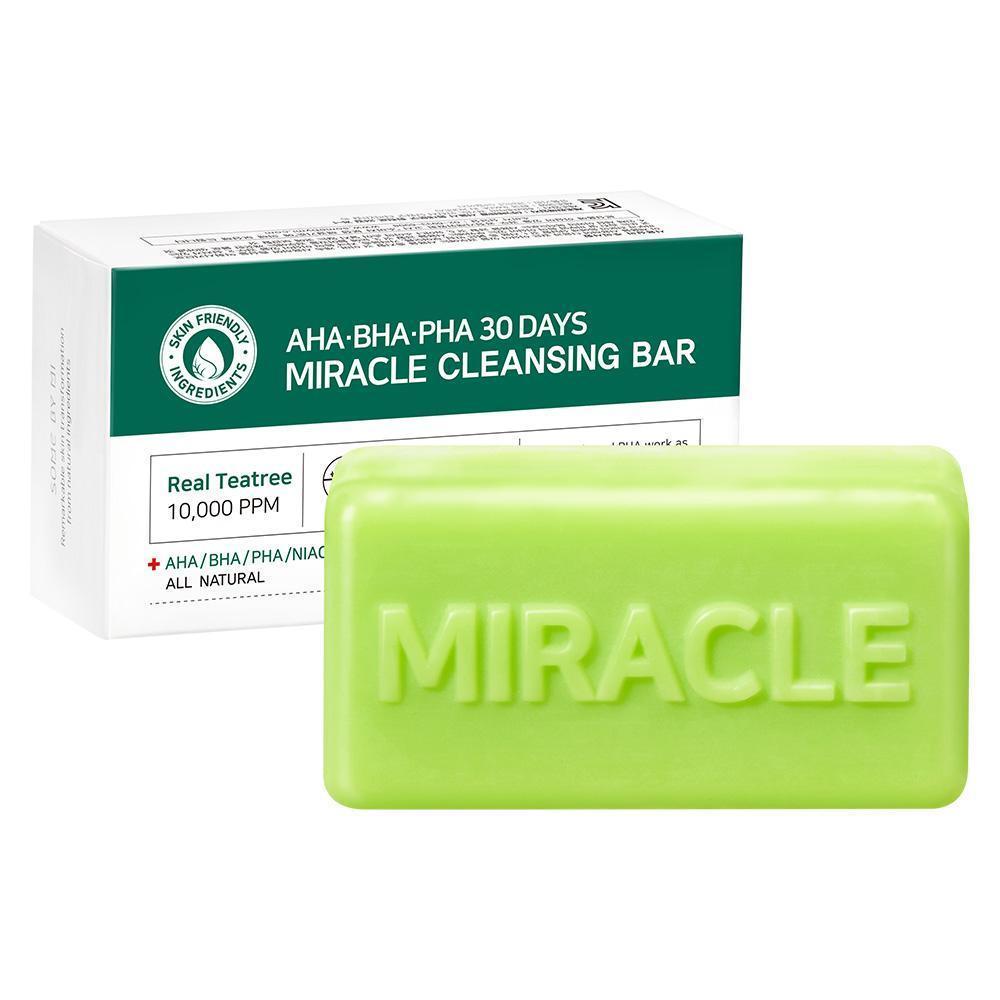 Xà phòng rửa mặt trị mụn và làm mờ vết thâm Some By Me AHA - BHA - PHA 30 Days Miracle Cleansing Bar 106g
