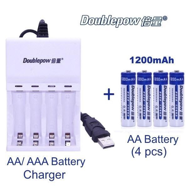 Combo sạc Doublepow-B02 và 4 pin sạc AA 1200mAh Cam Kết Dung Lượng Thật - Bảo hành 12 tháng