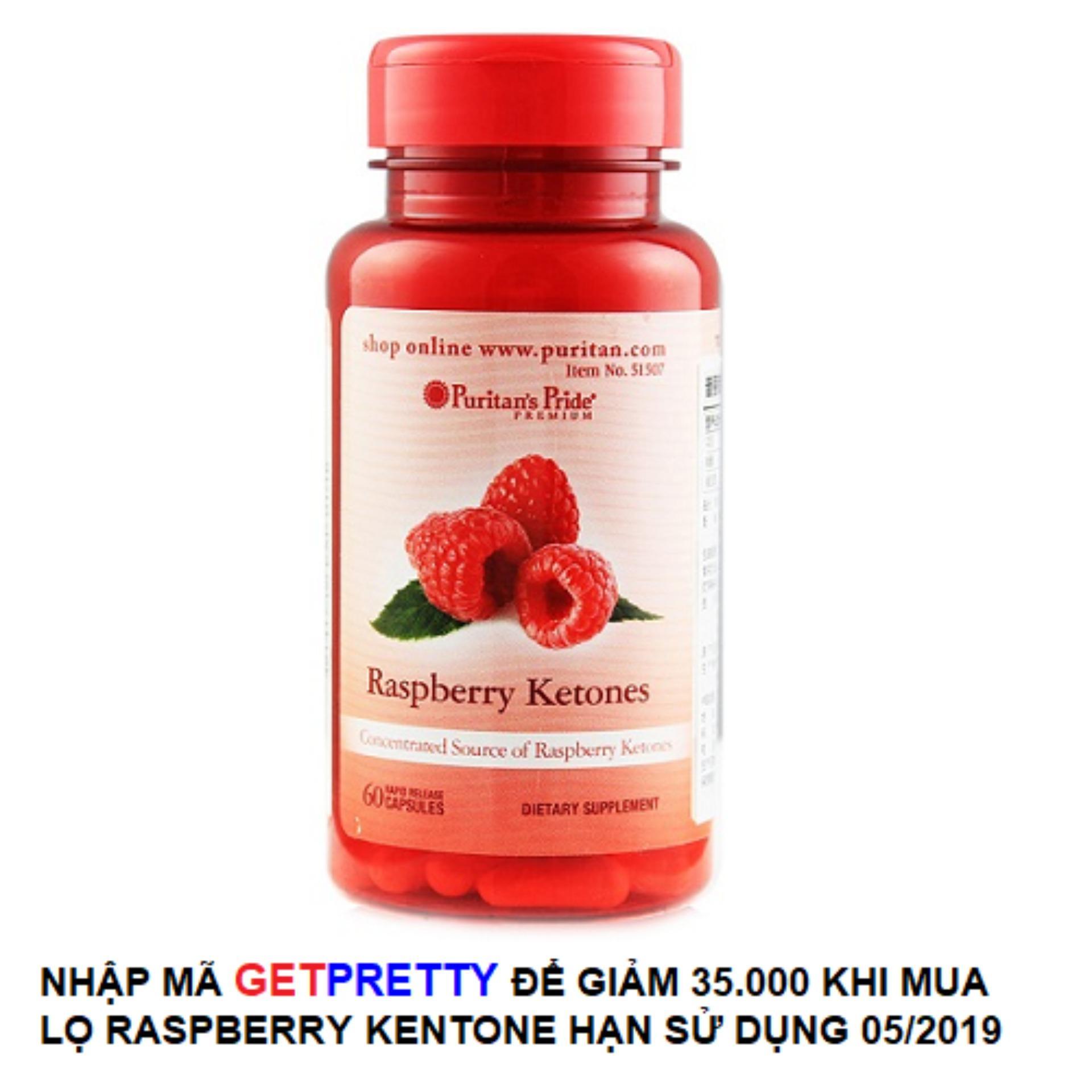 Viên uống hỗ trợ giảm cân an toàn Puritans Pride Raspberry Ketones 60 viên HSD tháng 5/2019 Giảm giá kích cầu làm đẹp Noel và Năm mới 2019 nhập khẩu