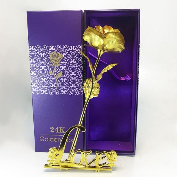 [Nhập ELMAY21 giảm 10% tối đa 200k đơn từ 99k]Hoa hồng mạ vàng 24K cao cấp có kèm đế LOVE