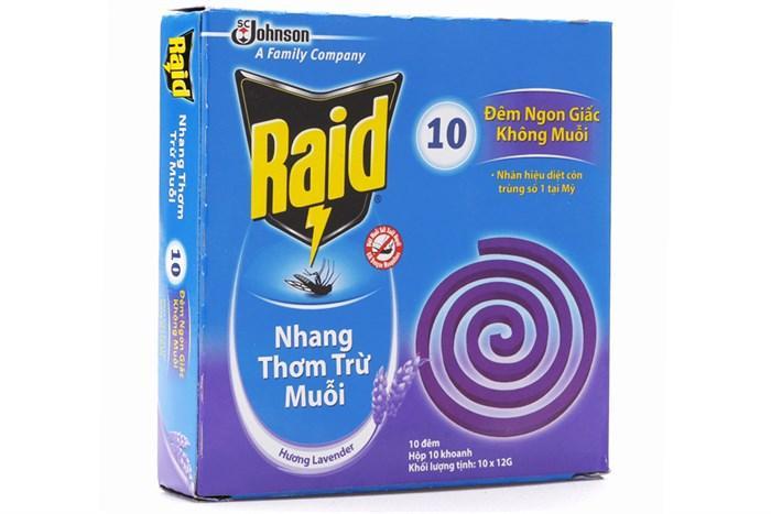 Hình ảnh Combo 10 hộp Nhang muỗi Raid hương Lavender (10 khoanh)