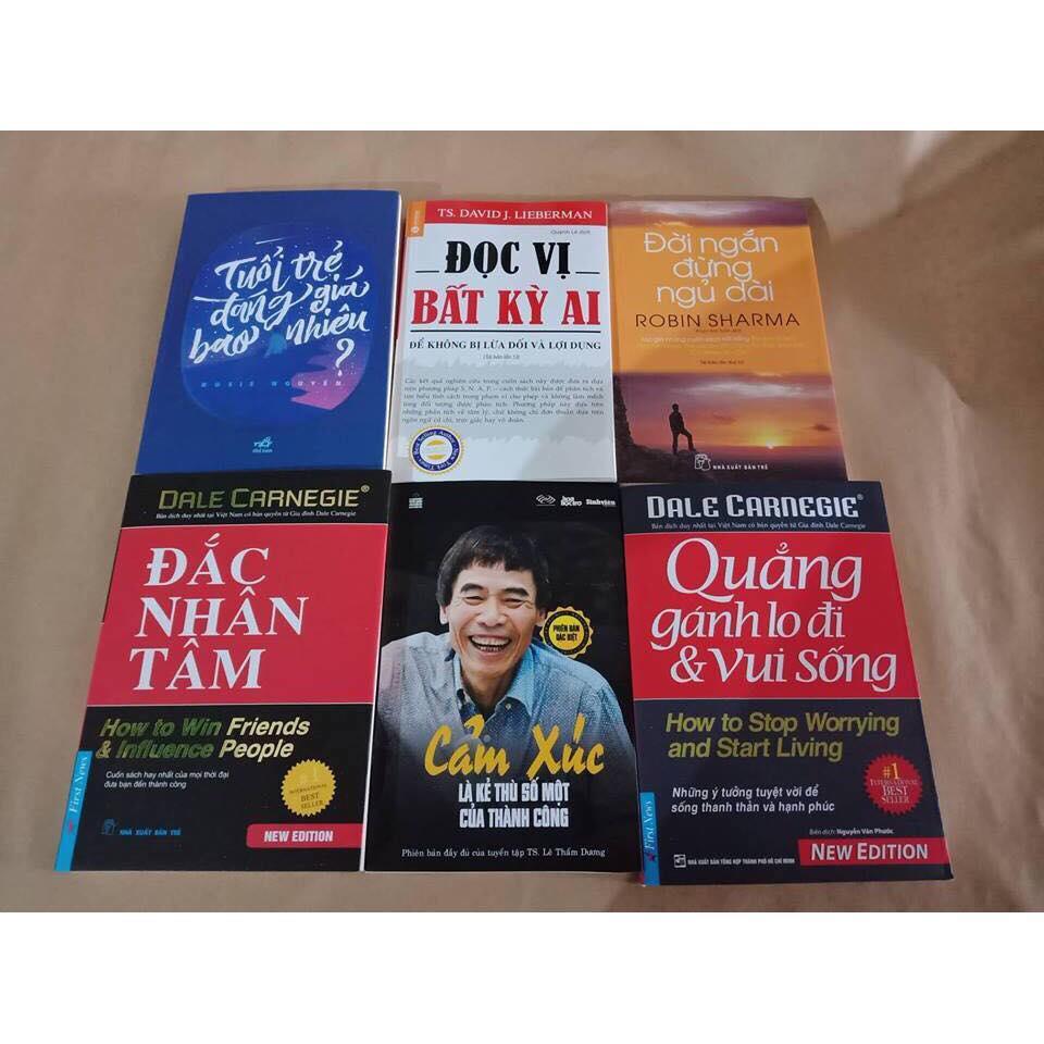 Combo 6 Sách: Đắc Nhân Tâm - Quẳng Gánh Lo Đi Và Vui Sống - Đời Ngắn Đừng Ngủ Dài - Đọc Vị Bất Kỳ Ai - Cảm Xúc Là Kẻ Thù Số Một Của Thành Công - Tuổi Trẻ Đáng Giá Bao Nhiêu Nhật Bản
