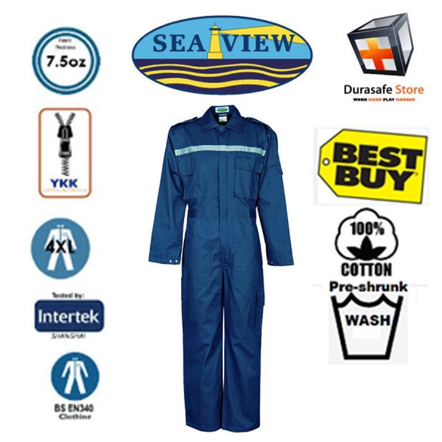 Bộ áo liền quần bảo hộ 100% cotton SEAVIEW™ Zip Màu Xanh Navy Size L