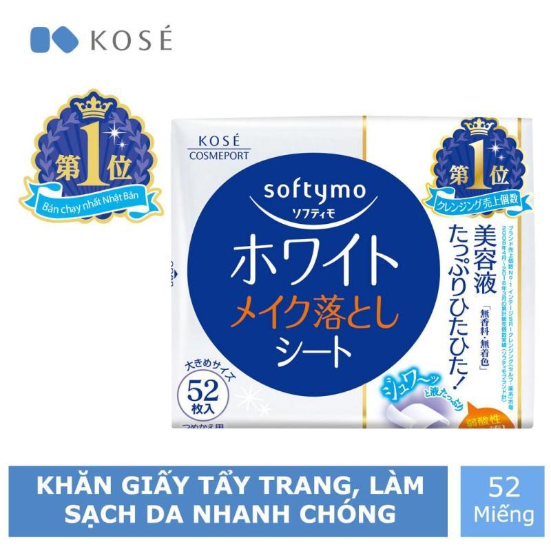 Khăn Giấy Tẩy Trang Kosé Cosmeport Softymo White Cleansing Sheet Refill 52 miếng nhập khẩu