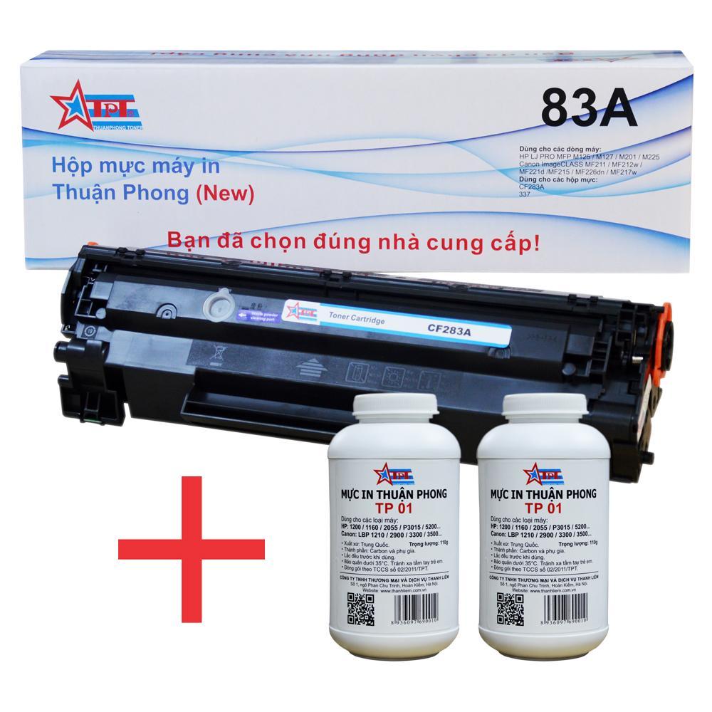 COMBO Hộp mực Thuận Phong 83A (TỰ NẠP) + 2 lọ mực đổ TP01
