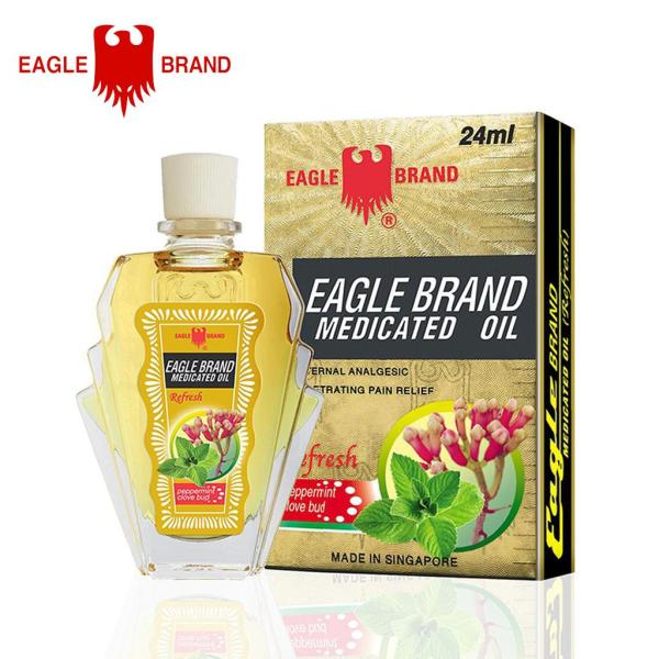 DẦU GIÓ VÀNG CON Ó EAGLE BRAND MEDICATED OIL REFRESH PEPPERMINT CLOVE BUB 24ML