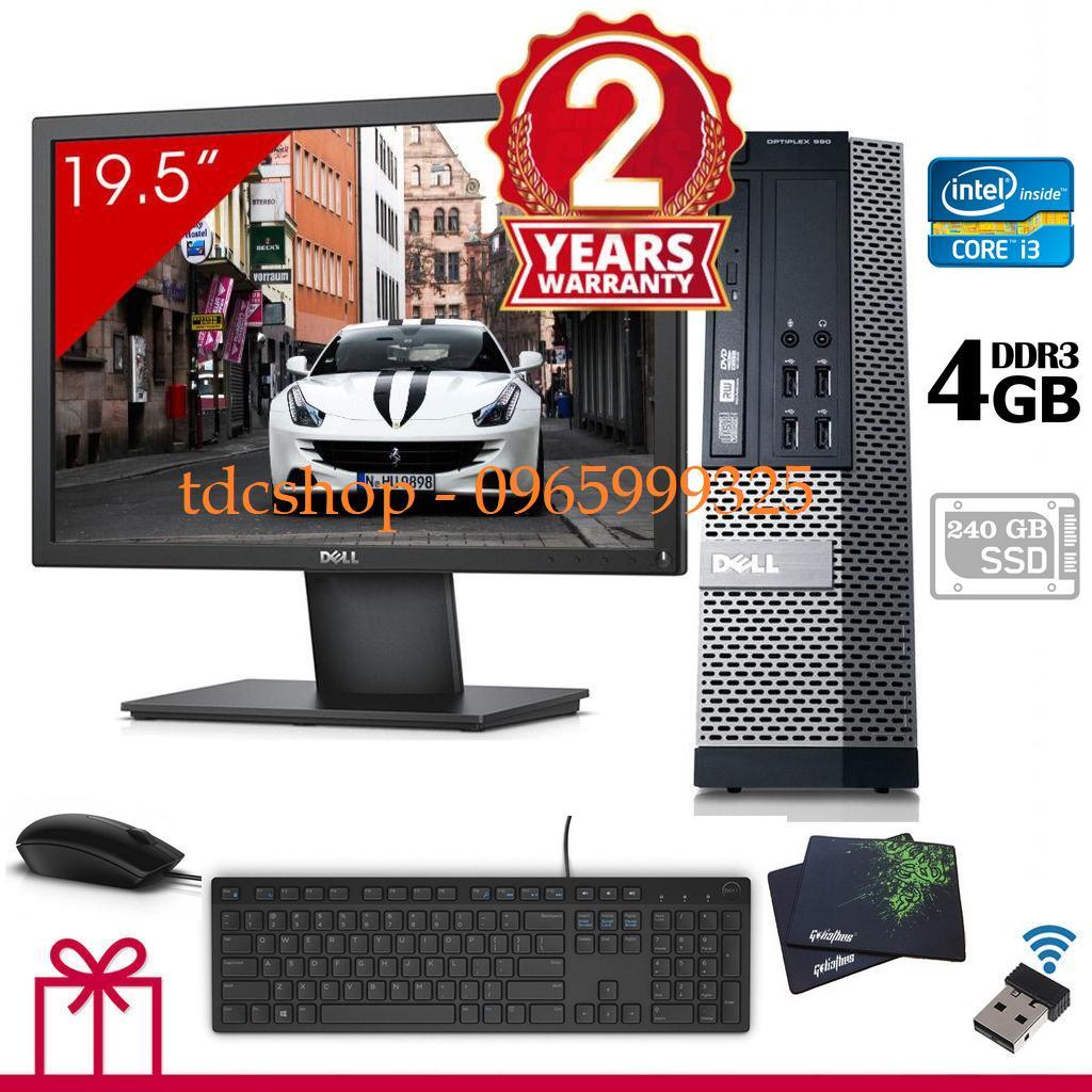 Máy tính để bàn DELL optiplex 990 Chip core i3 2100, Ram 4gb, ổ cứng SSD 240gb, Màn hình DELL 20 inch - Tặng combo bàn phím, chuột DELL, usb wifi - Bảo hành 14 tháng 1 đổi 1.