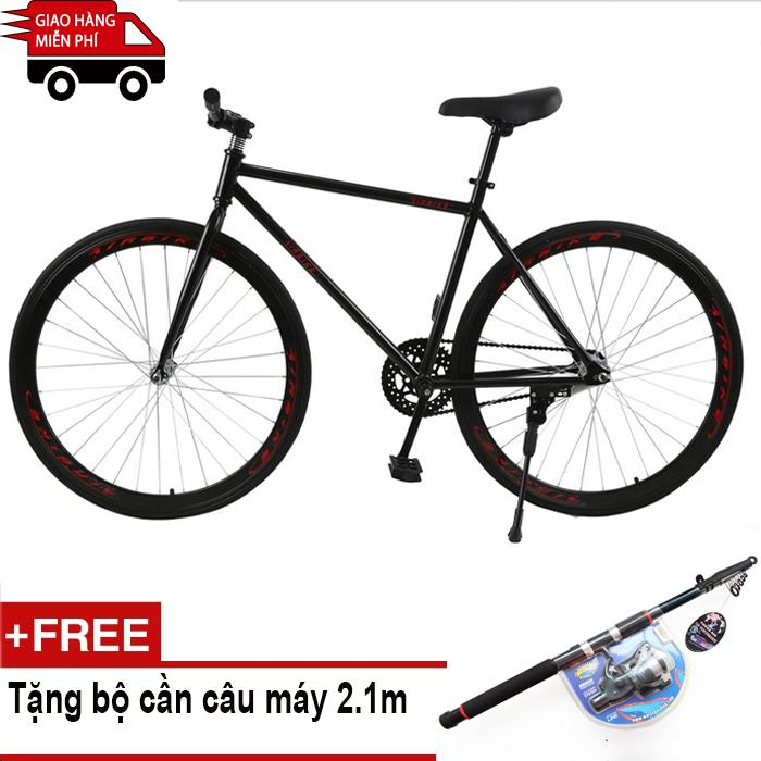 Mua Kachi - Xe đạp Fixed Gear Air Bike MK78 (đen) + Tặng bộ cần câu máy 2.1m