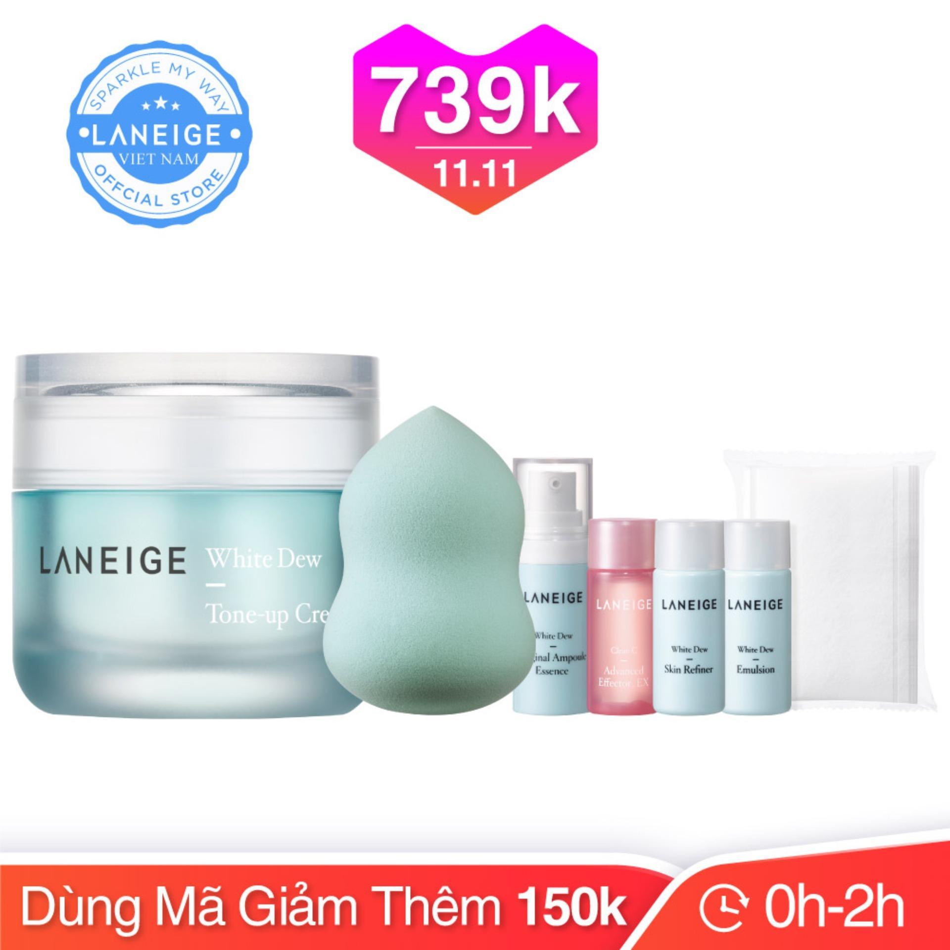 Kem dưỡng trắng và nâng tông da Laneige White Dew Tone-Up Cream 50ml + Tặng bộ dưỡng trắng toàn diện