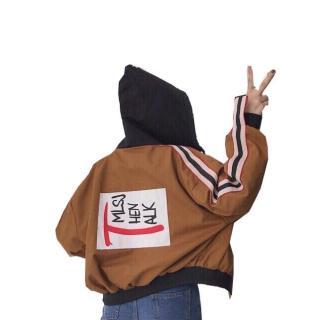 Áo khoác gió nữ phối sọc tay chữ T [video chất lượng sp] thumbnail